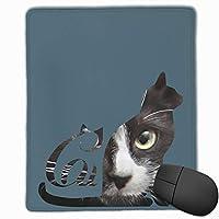 マウスパッド ネコ シルエット 猫顔 ゲーミング シンプル 適切 傷防止 耐摩耗性 撥水性 レーザー&光学式マウス対応でき 滑り止めゴム底 おしゃれ