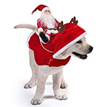 Idepet New Santa Dog Costume Pet Dogs Costume Coat for Halloween Cosplay,Novelty Pet Dogs Winter Hoodie Vest Clothes Christmas Dress up Decor for Cat Dog Puppy Christmas Party