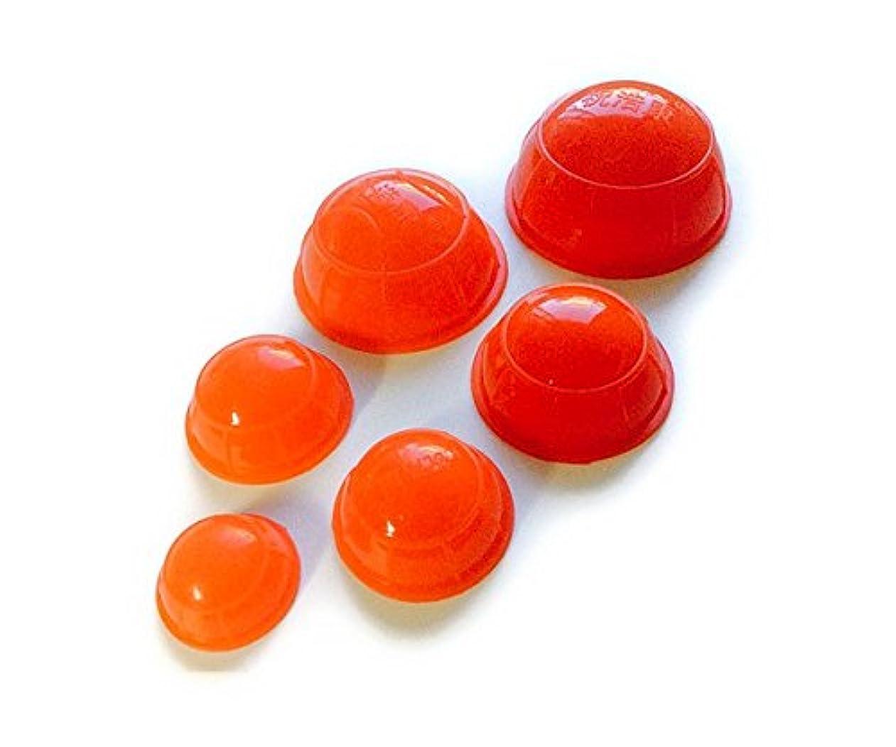 ぴったり冷笑するコンパクト簡易 吸い玉6個セット レッド 大中小5種類の大きさ