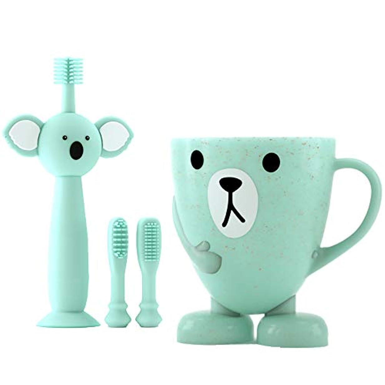 材料満了ママLUDNEE 子供用歯ブラシ 男女兼用 柔らかい 乳歯を保護する ベビー歯ブラシ シリコン歯ブラシ 乳歯用ブラシ (ブルー)