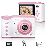 Kids Camera, 8.0MP Creative Digital Dual Camera, Rechargeable Children Camcorder with 2.8'' Touch Screen, 4X Digital Zoom, Gift for 3-12 Years Old Girls Boys Party Outdoor(32GB TF Card Included)