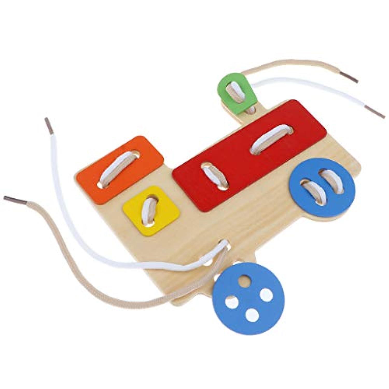 KESOTO 列車のひもとおし おもちゃ カラフル 木製 幼児用 赤ちゃん 木製玩具 知育玩具