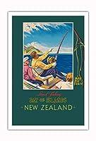 島の湾 - ニュージーランド - 剣釣り - ニュージーランド鉄道 - ビンテージな鉄道旅行のポスター によって作成された ジョン・ホルムウッド c.1930 - アートポスター - 76cm x 112cm