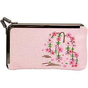 ユーアイ 和雑貨 下溝名刺入れ 刺繍3.5寸 ピンク