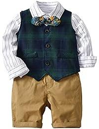 Mornyray 子供服 フォーマル スーツ ワイシャツ 長袖 ハーフパンツ ベスト 蝶ネクタイ 4セット 男の子 キッズ コットン size 130 (ダークグリーン)