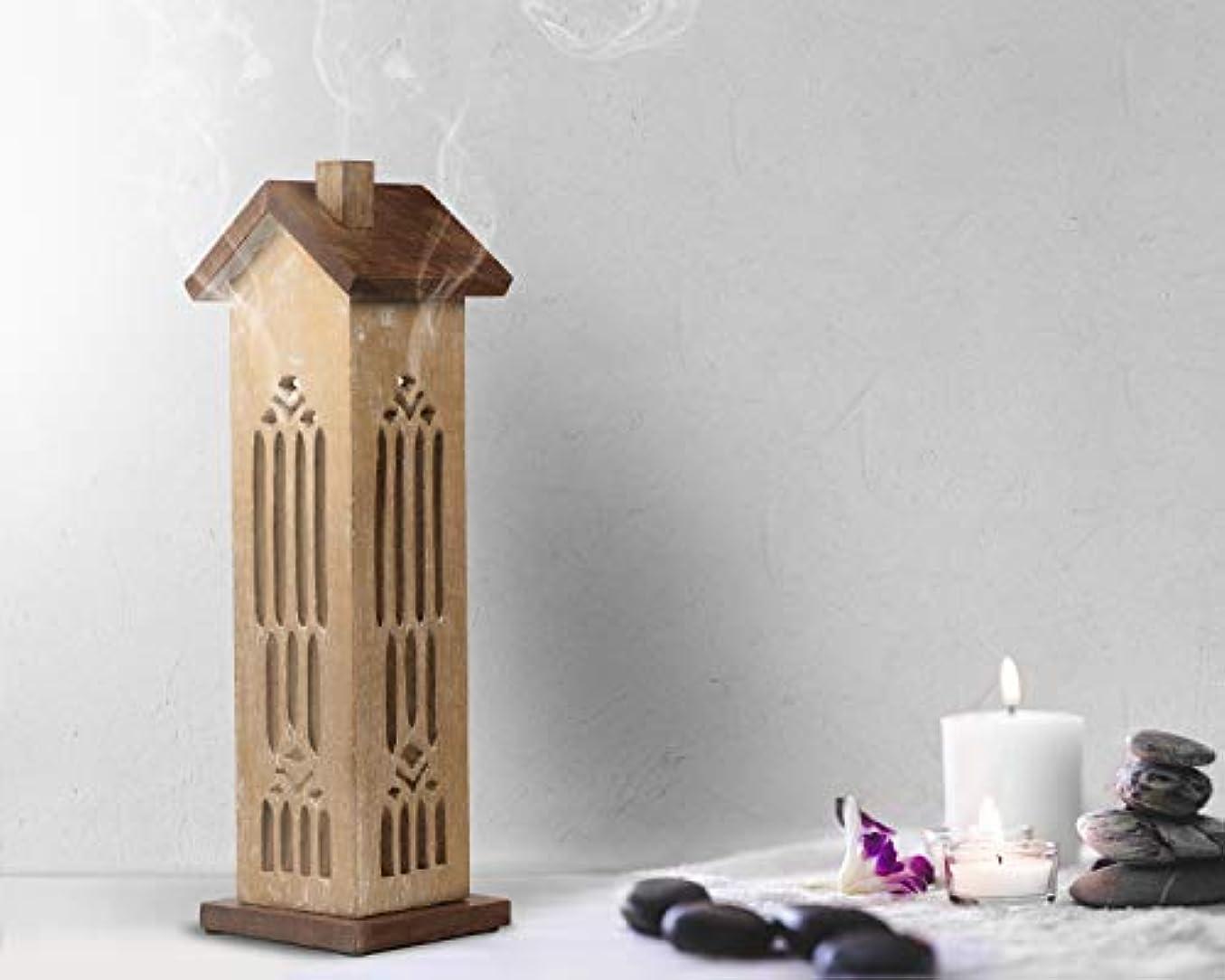 ワイド命令行動storeindya 感謝祭ギフト 木製タワーハウスお香ホルダー ウォールナット仕上げ バーナー アッシュキャッチャー付き 装飾的 無料 オーガニックお香3本