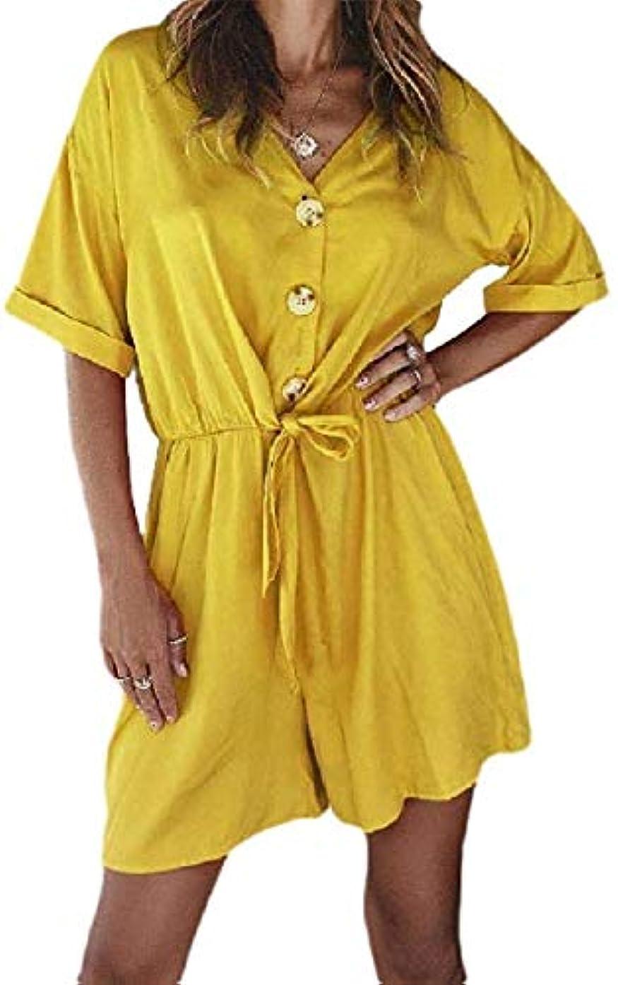 報酬豊かな魔術YIYILIU Womens Short Sleeve Summer Pure Color Stylish Coveralls Tunic Leisure Short