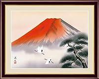 【F6】 富士山水画額 赤富士飛翔 伊藤渓山 和の風情 モダン インテリア 安らぎ 潤い 壁掛け G4-BF041