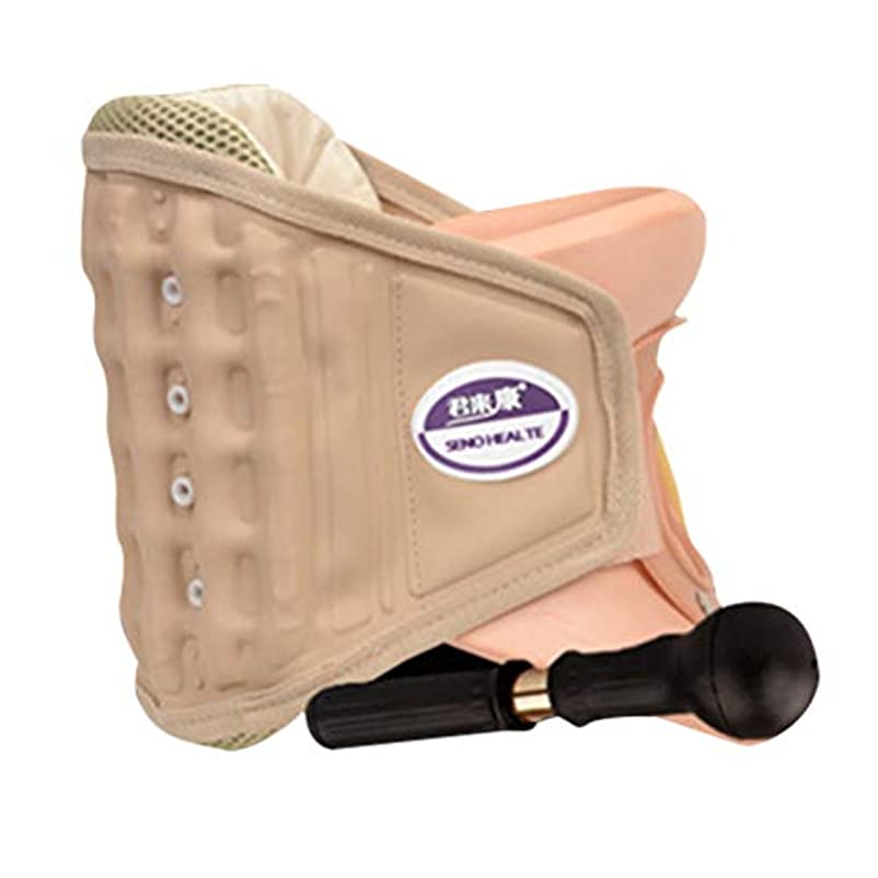 マーキーフィットネススイッチSUPVOX 頸部首牽引襟デバイス装具椎骨サポートベルト付きポンプポータブルネックマッサージャー