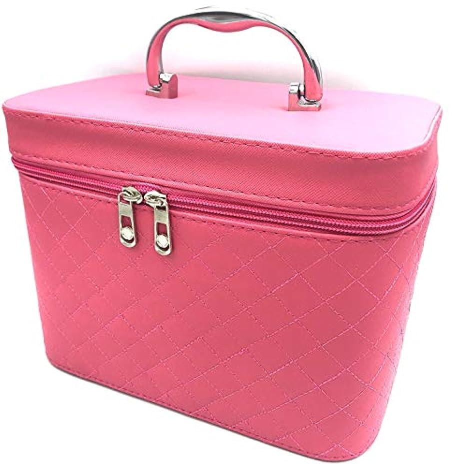 旅インペリアルそんなに【EMPORITY TAG】 バニティBag キルティング地 メイク ミラー 小物 化粧品 撥水 軽量設計 Mサイズ Sサイズ (M, ピンク)