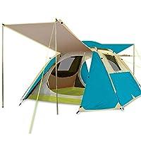 キャンプテント、アウトドアライフテントアウトドア3-4人自動ダブルキャンプ雨テント,Lakeblue