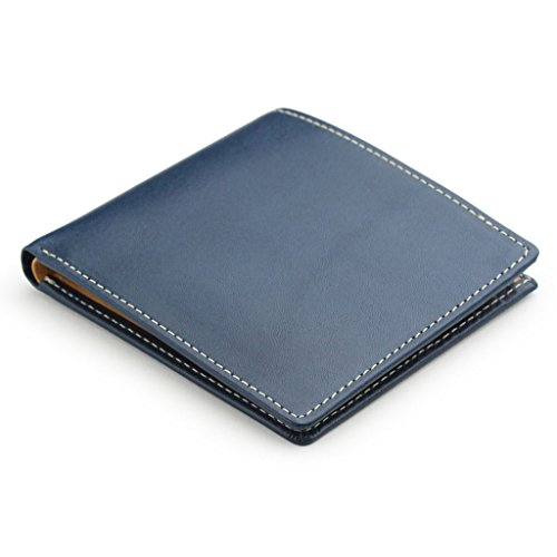 [アビエス] ABIES L.P. 栃木レザー 二つ折り財布(小銭入れなし) 日本製 牛革 ブルー