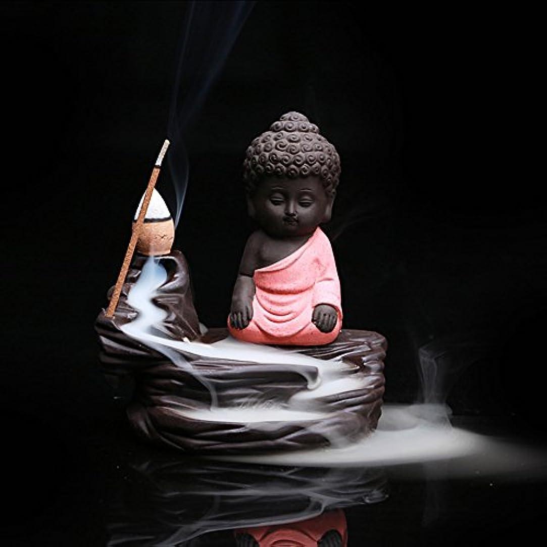 カロリー乗算窓クリエイティブ逆流香炉コーンスティックホルダーSmall BuddhaセラミックCenserホーム部屋装飾 12.0*12.0*6.0cm レッド Colorado