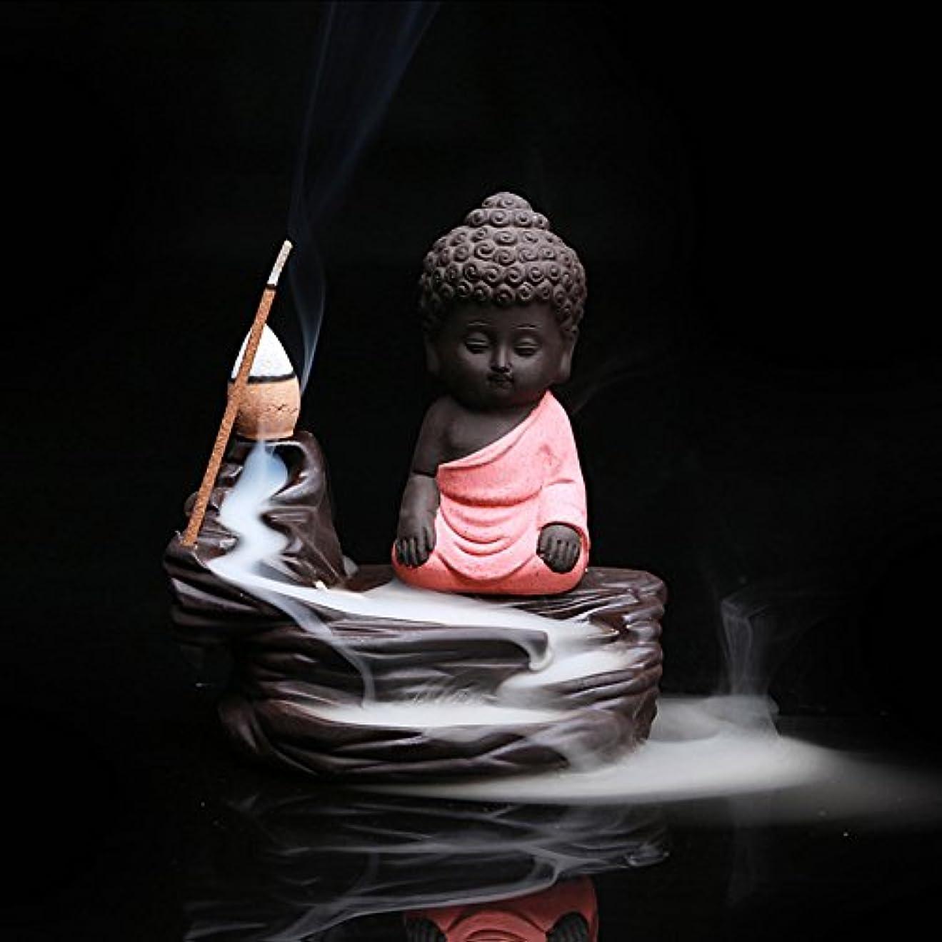 起きろガラスメジャークリエイティブ逆流香炉コーンスティックホルダーSmall BuddhaセラミックCenserホーム部屋装飾 12.0*12.0*6.0cm レッド Colorado