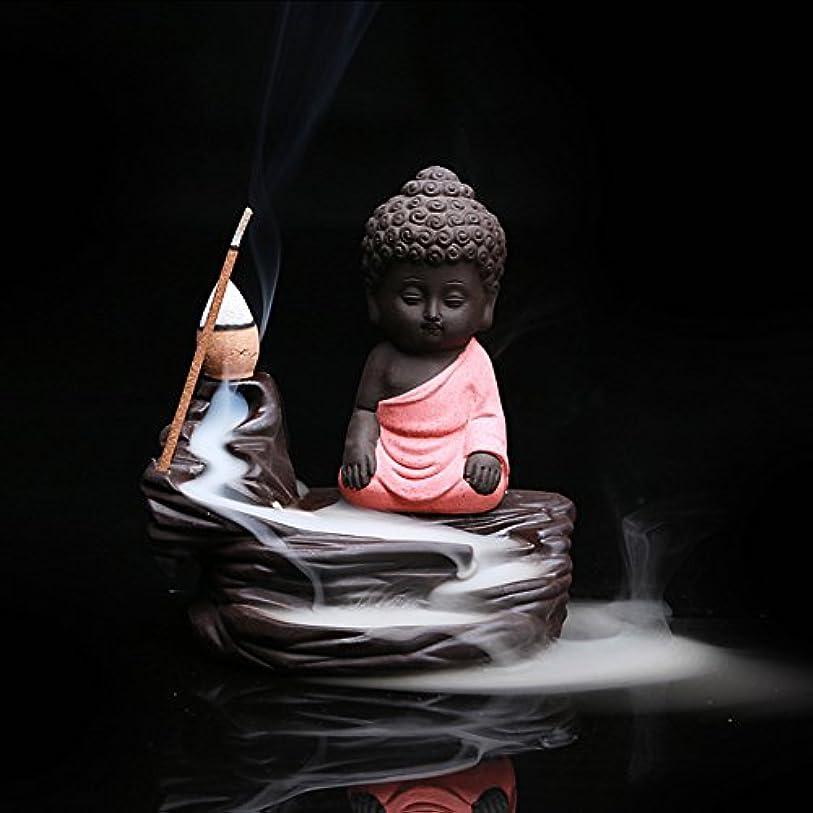 常識スタッフ水星クリエイティブ逆流香炉コーンスティックホルダーSmall BuddhaセラミックCenserホーム部屋装飾 12.0*12.0*6.0cm レッド Colorado