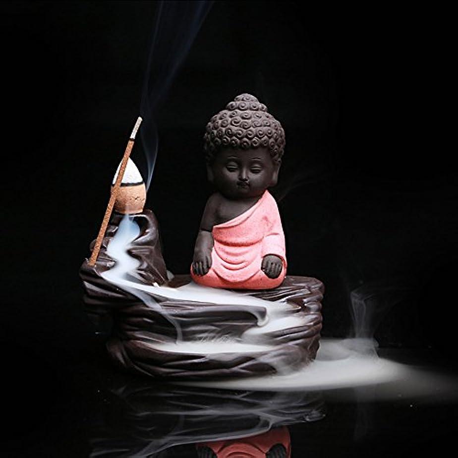 バルク聡明依存クリエイティブ逆流香炉コーンスティックホルダーSmall BuddhaセラミックCenserホーム部屋装飾 12.0*12.0*6.0cm レッド Colorado