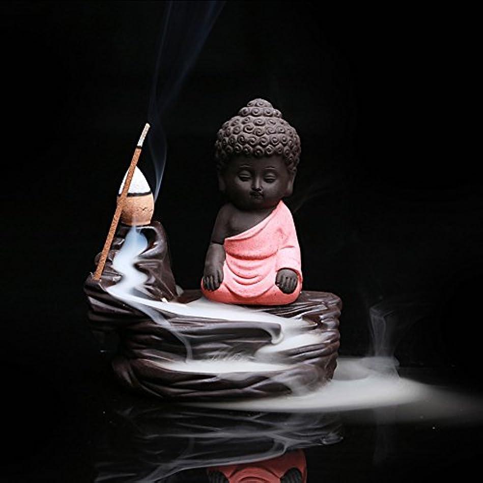 心配する楽しいアロングクリエイティブ逆流香炉コーンスティックホルダーSmall BuddhaセラミックCenserホーム部屋装飾 12.0*12.0*6.0cm レッド Colorado