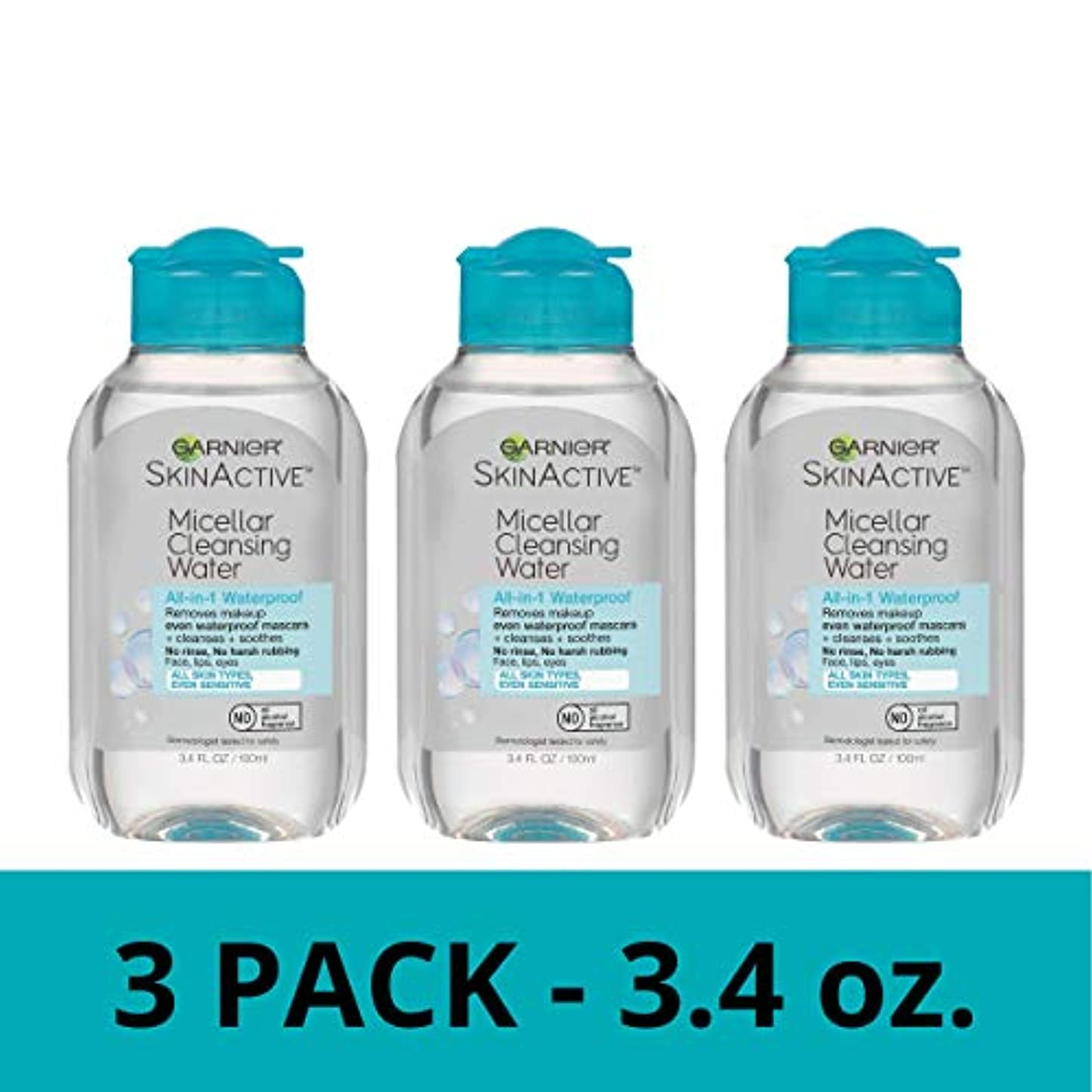 ナビゲーションミスジレンマGarnier SkinActive Micellar Cleansing Water、防水のメイクアップ、旅行サイズ、3カウント
