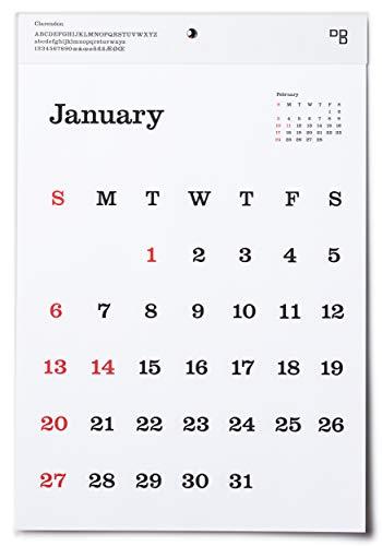 2019 D-BROS タイプフェイスカレンダー Clarendon クラレンドン (壁掛け)