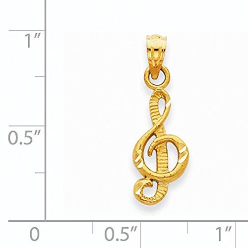 14K黄色ゴールドダイヤモンドカットト音記号ペンダントk3500