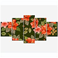 絵画抽象赤い花キャンバス5ピース装飾絵画防水光沢のあるキャンバスイメージキャンバスに印刷(枠なし/ 30 x 40 x 2 30 x 60 x 2 30 x 80 cm x 1)