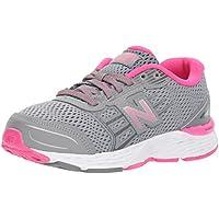 New Balance Girls' 680v5 Running Shoe, Steel/Pink Glo
