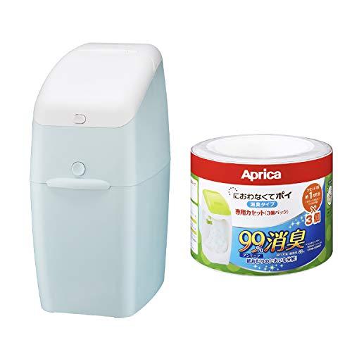 【セット買い】 アップリカ(Aprica) 強力消臭 おむつ ごみ箱 ニオイポイ(NIOI-POI) ペールブルー 2022668 + 紙おむつ処理ポット におわなくてポイ 消臭タイプ 専用カセット 3個パック 09124 「消臭」・「抗菌」・「防臭」可