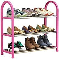 靴ラックプラスチックシンプル3階大容量シューボックスボックス家庭用収納ラック (色 : Pink)