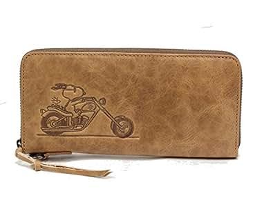 【SNOOPY】スヌーピー 37239 ライダース イタリア革  長財布 バイクで疾走するスヌーピー ラウンドファスナー (ベージュ)