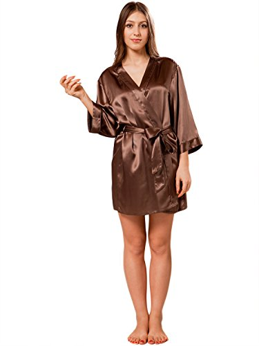【ellesilk】女性の短いシルクローブ 純粋な桑のシルクの寝間着 エスプレッソ S