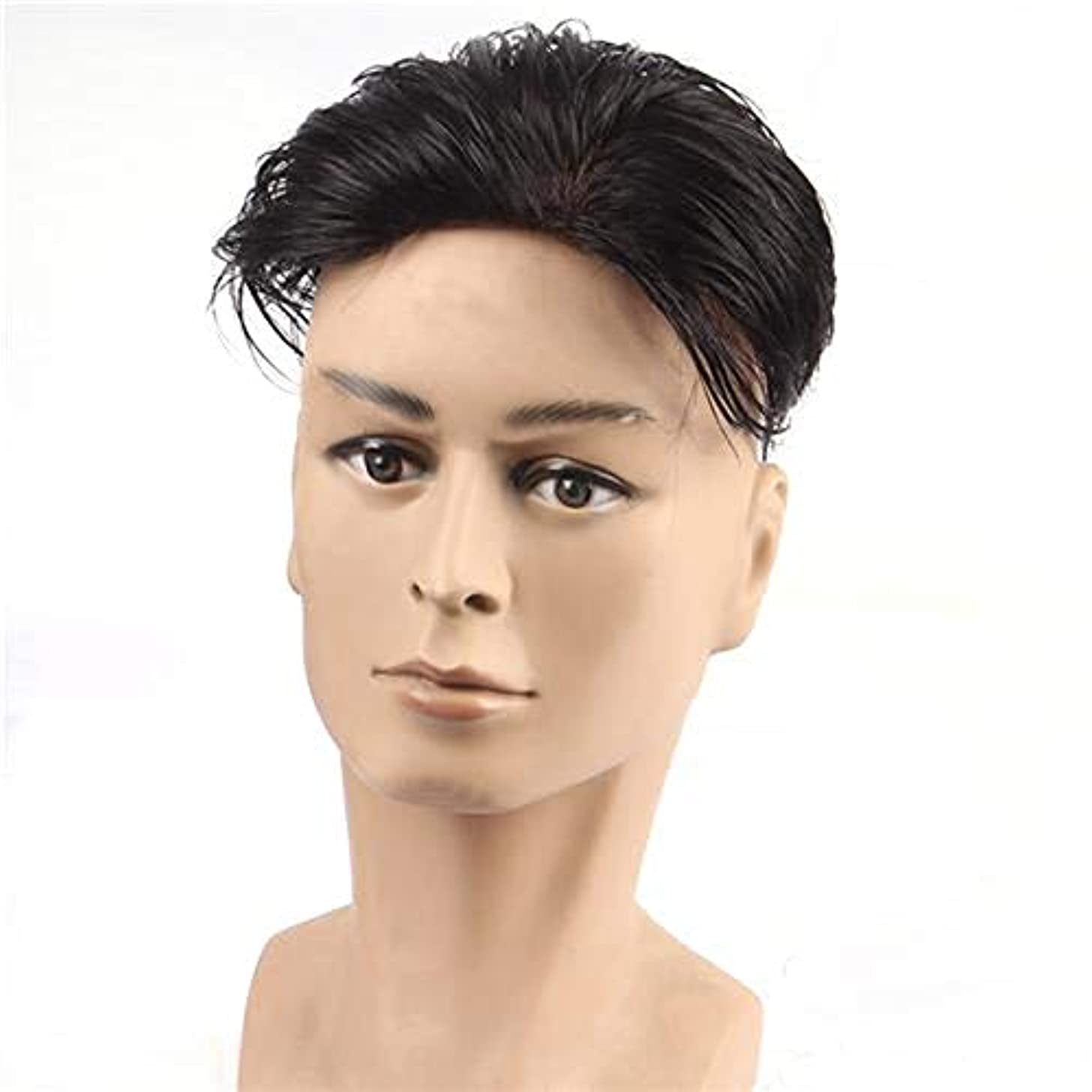 ブルゴーニュ取得陸軍YOUQIU 黒人男性ガイショートレイヤーカーリー波状のアニメのコスプレパーティーの髪カツラウィッグ (色 : Natural black, サイズ : 18x20)