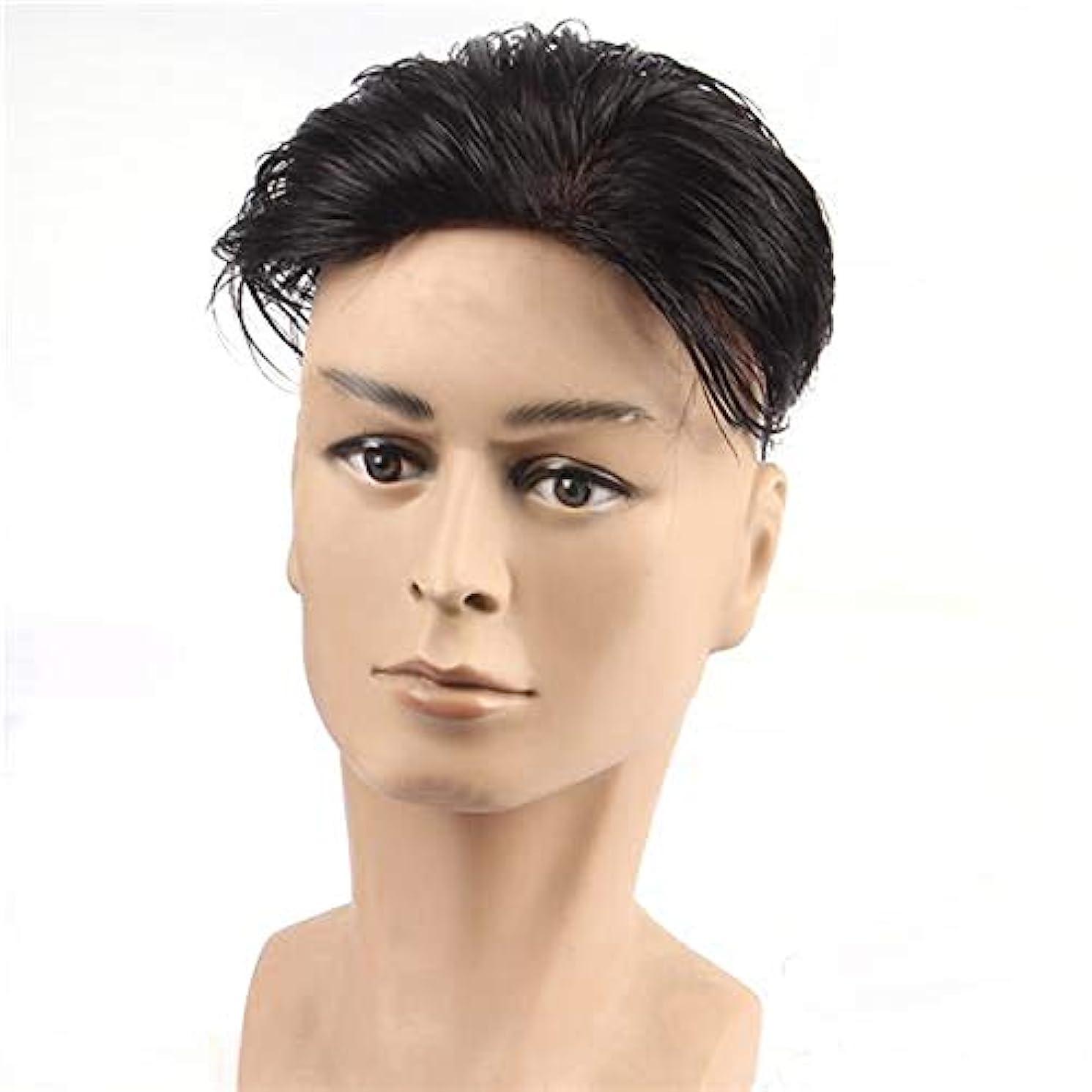 ペース生き残り家庭YOUQIU 黒人男性ガイショートレイヤーカーリー波状のアニメのコスプレパーティーの髪カツラウィッグ (色 : Natural black, サイズ : 18x20)
