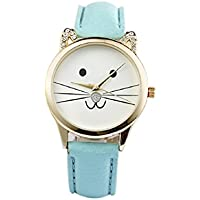 Lookatool Women Neutral Diamond Lovely Cats Face Faux Leather Quartz Watch