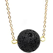 Fashion Woman Black Lava Rock Necklace Jewelry Lava Stone Essential Oil Diffuser Necklace (Gold)
