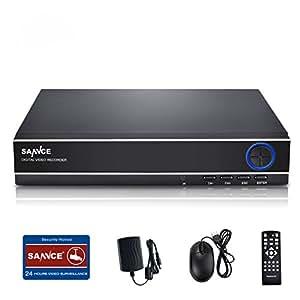 SANNCE(センス) 4CH防犯録画機 AHDデジタルレコーダー 720P DVR/NVR/HVR 3 in 1防犯レコーダースマートフォン遠隔監視対応日本語システム (HDDなし)