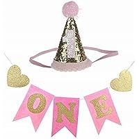 Kingsie 誕生日ヘアバンド ガーランド 2点セット ベビー 赤ちゃん 1歳 キャップ 三角帽子 かわいい キラキラ 記念写真 撮影 女の子 男の子 (ピンク)