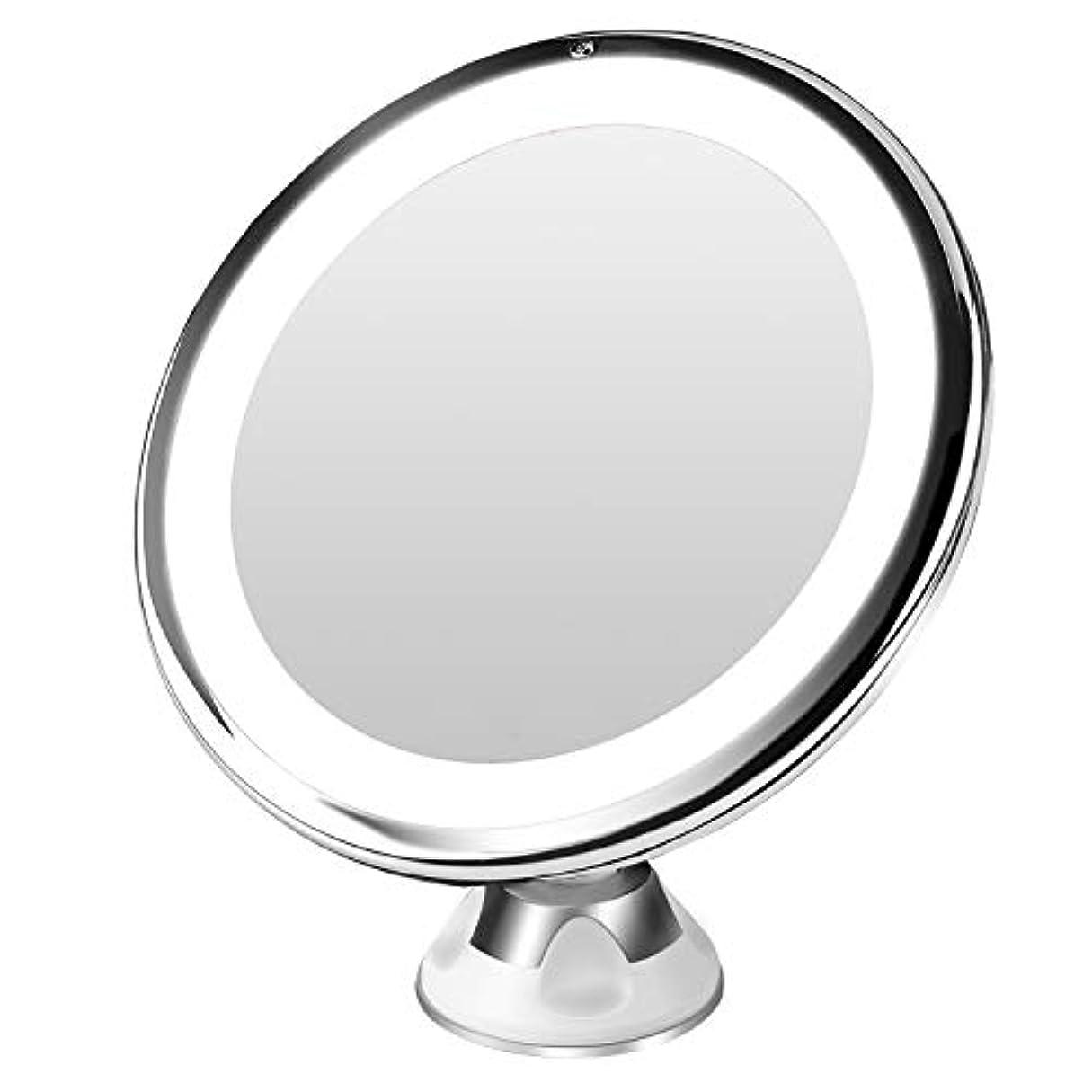 チャームかもめ動的BESTOPE 10倍拡大鏡 LED化粧鏡 浴室鏡 卓上鏡 曇らないミラー 吸盤ロック付きLEDミラー 壁掛けメイクミラー 360度回転スタンドミラー 単四電池&USB給電(改良版)