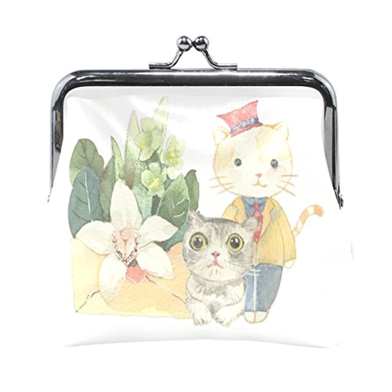 VAWA 小銭入れ レディース がま口 財布 花柄 猫柄 ネコ 可愛い かわいい 漫画 コインケース 革 レザー カード収納 お札 柔らかい プレゼント用