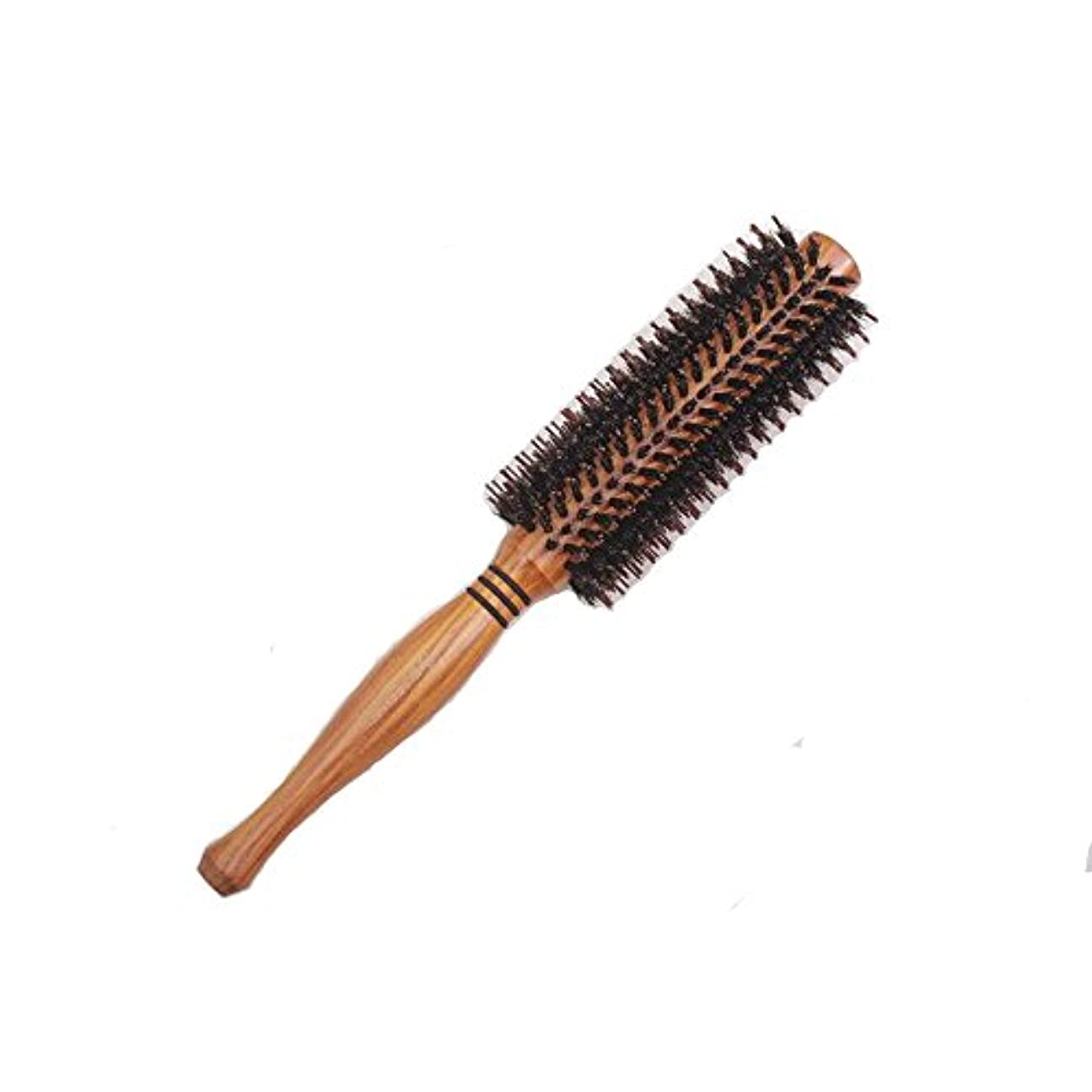 立場容量実際に天然ロールブラシ 豚毛 耐熱仕様 ブロー カール 巻き髪 ヘア ブラシ ロール