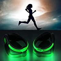 BSMEAN LEDシューズクリップライト、ランナーシューズ用2PCSランニングライト、点滅ジョギングサイクリングウォーキング用ランニングセーフナイトギア、緑