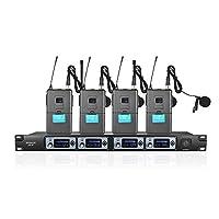 ammoon 4S 4チャンネルUHF ワイヤレスラペルクリップオンマイクシステム 4マイク+1受信機 6.35mmオーディオケーブルLCDディスプレイ カラオケファミリーパーティープレゼンテーション用