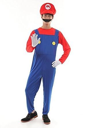 fdb2098bb6728 【osharemart】 スーパーマリオ マリオ コスプレ 白の手袋付 衣装 コスチューム ハロウィン (マリオ