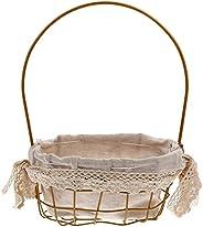 rosenice フラワーガールのバスケット鉄織バスケットピクニックバスケット織卵キャンディーバスケットフラワーバスケットクッキーギフトボックスバスケット織布ビン結婚式誕生日の装飾