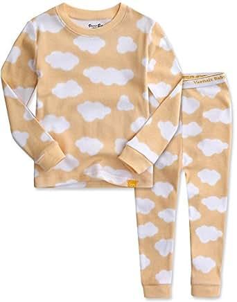 [Vaenait Baby]キッズ12ヶ月-9歳綿100%ルームウェア長袖パジャマ寝間着上下セット Long Cloud Yellow XS