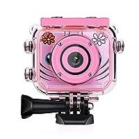 キッズデジタルカメラ防水スポーツ水泳ポータブル1080 p HD写真ビデオカラースクリーン美しい男の子女の子のため,pink