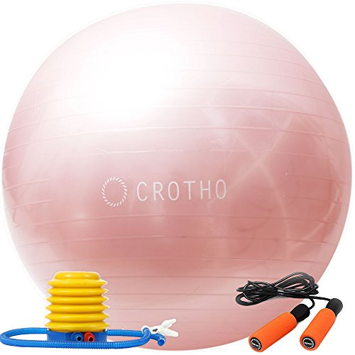 【CROTHO(クロート)】iPhoneのカラーバリエーションを連想させる CROTHOならではのi-color(アイ・カラー) 選べる5色!バランスボール&なわとび Set ヨガボール エクササイズボール 55~65cm 空気入れ CROTHO特別セット フットポンプ付き(ピンクゴールド)