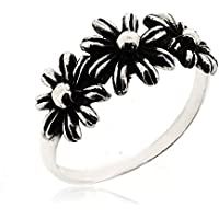 SOVATS Three Flower Ring for Women 925 Sterling Silver Oxizidize Surface - Simple, Stylish &Trendy Nickel Free Ring