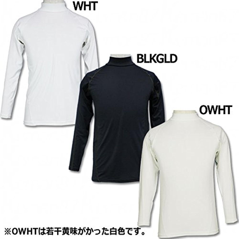 kemari87オリジナル 長袖ハイネックインナーシャツ 無地 yk-001 O BLKGLD(ブラック×ゴールド)