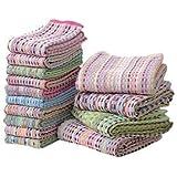 バスタオル&フェイスタオルセット 【14枚セット 色柄おまかせ】 洗える 綿100% 『残糸使用 エコタオル』【代引不可】