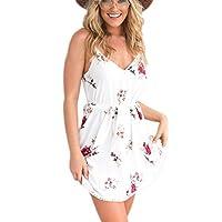 Kprdeo Women's Floral Plunge Front Skater Dress Spaghetti Strap V Neck Mini Beach Dress